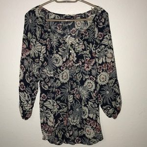 Chaps Denim Woman floral peasant blouse top 1X